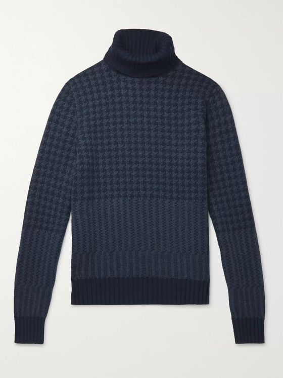 Loro Piana Houndstooth Cashmere Rollneck Sweater