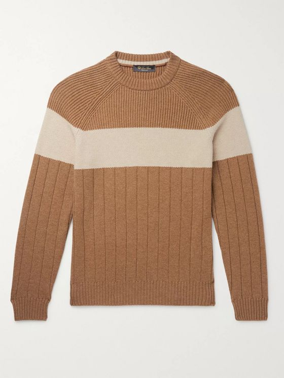 Loro Piana Slim-Fit Striped Ribbed Cashmere Sweater