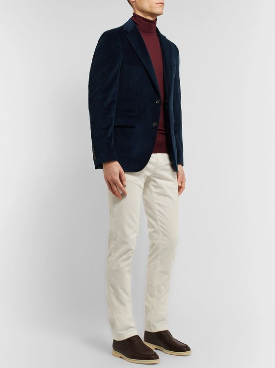 Loro Piana Navy Slim-Fit Cotton and Cashmere-Blend Corduroy Blazer