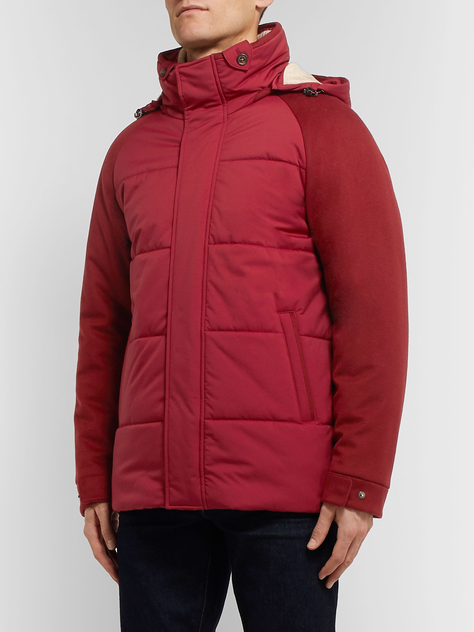 Loro Piana Storm System Quilted Baby Cashmere and Shell Hooded Jacket