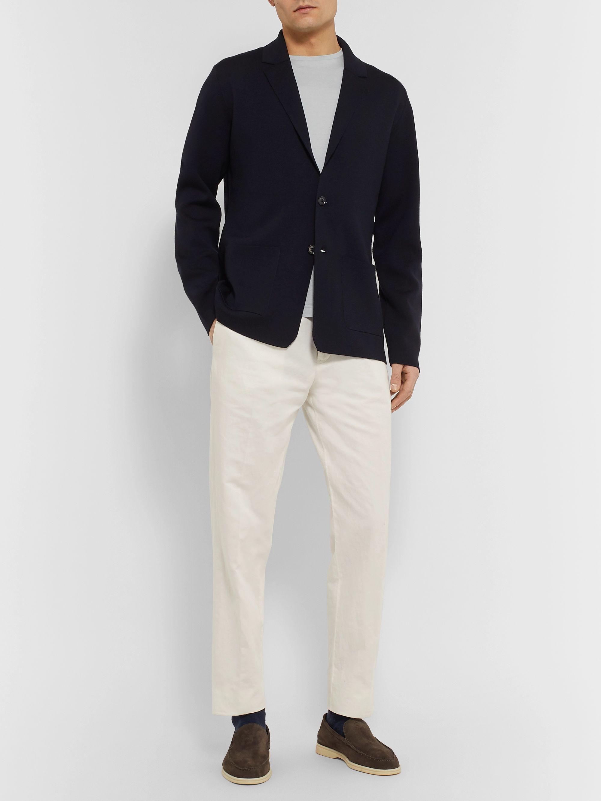 Loro Piana Navy Unstructured Wish Wool Blazer