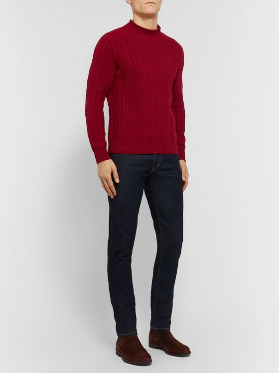 Loro Piana Slim-Fit Cable-Knit Baby Cashmere Mock-Neck Sweater