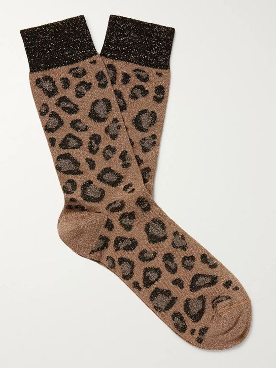 Versace Leopard-Jacquard Cotton Socks