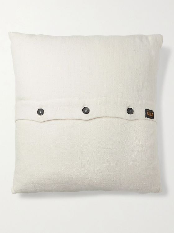 Roman & Williams Guild Buttoned Linen Cushion Cover