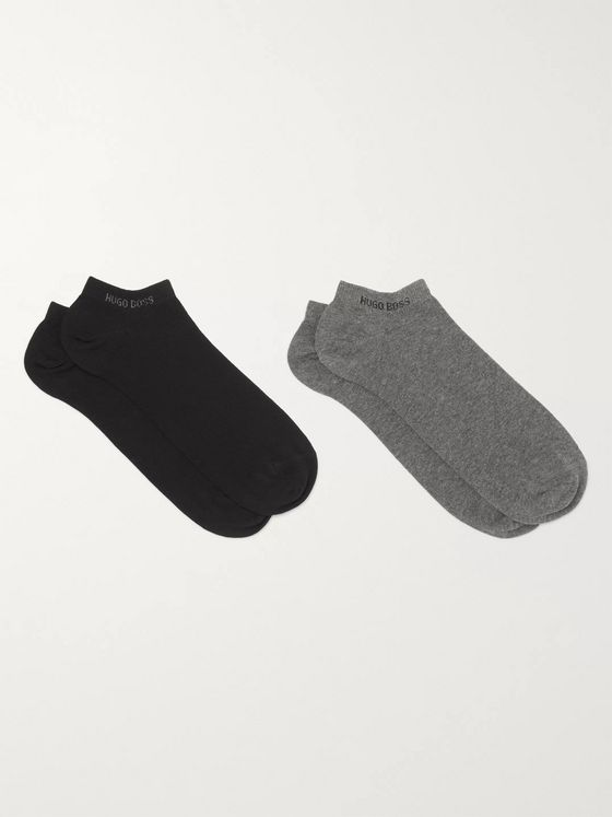 Hugo Boss Two-Pack No-Show Cotton-Blend Socks