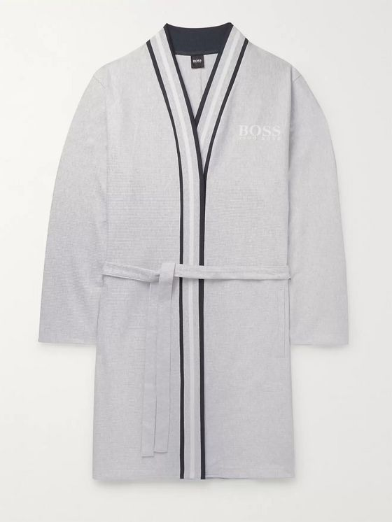 Hugo Boss Striped-Trimmed Ribbed Mélange Cotton Robe