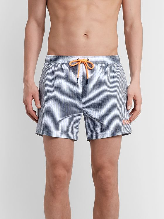 Hugo Boss Mid-Length Logo-Embroidered Striped Seersucker Swim Shorts