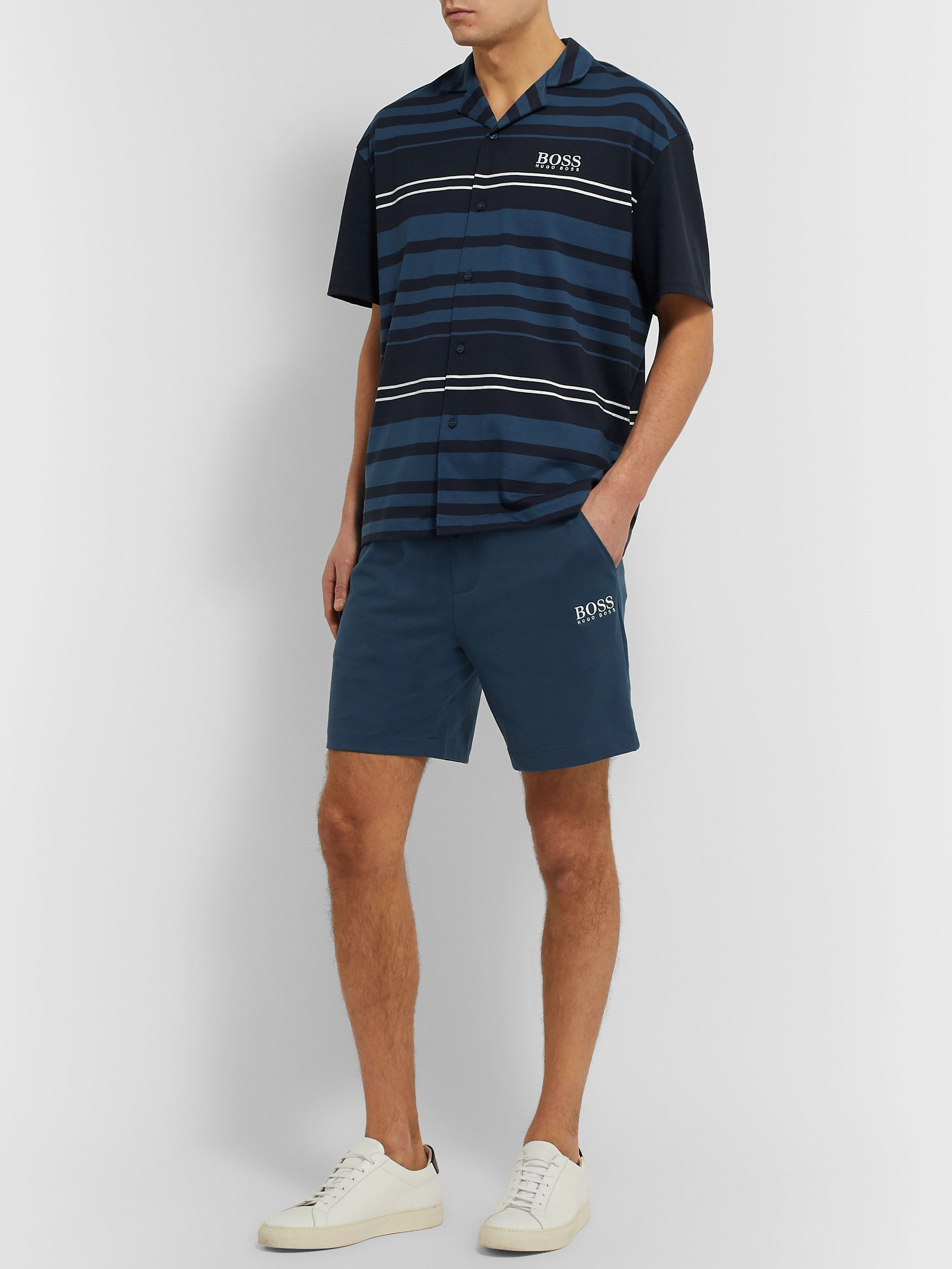 Hugo Boss Logo-Embroidered Striped Cotton-Jersey Shirt and Shorts Set