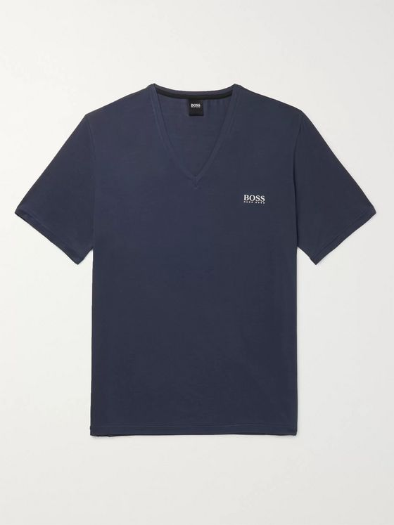 Hugo Boss Logo-Print Mélange Stretch-Modal T-Shirt