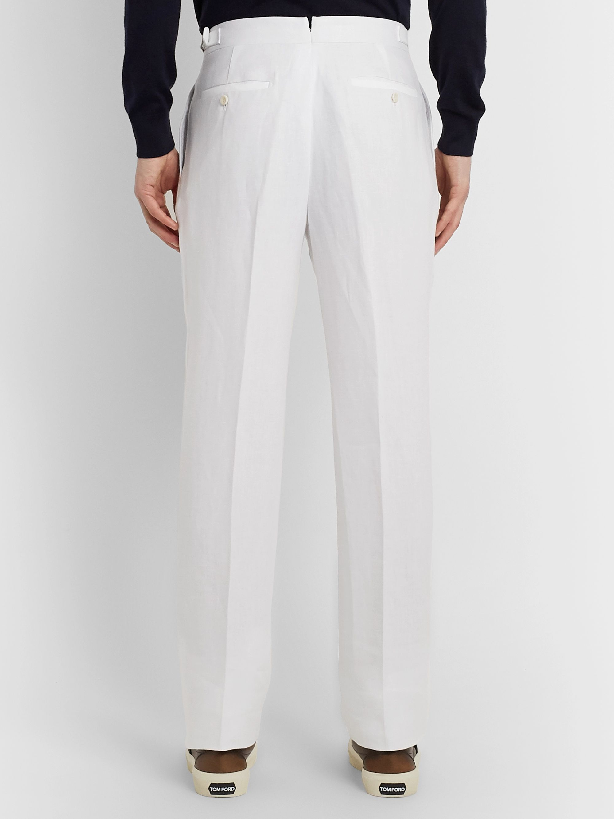 Loro Piana Tapered Pleated Linen Trousers