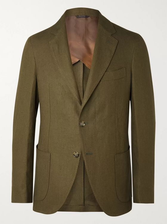 LORO PIANA Army-Green Slim-Fit Unstructured Linen Blazer