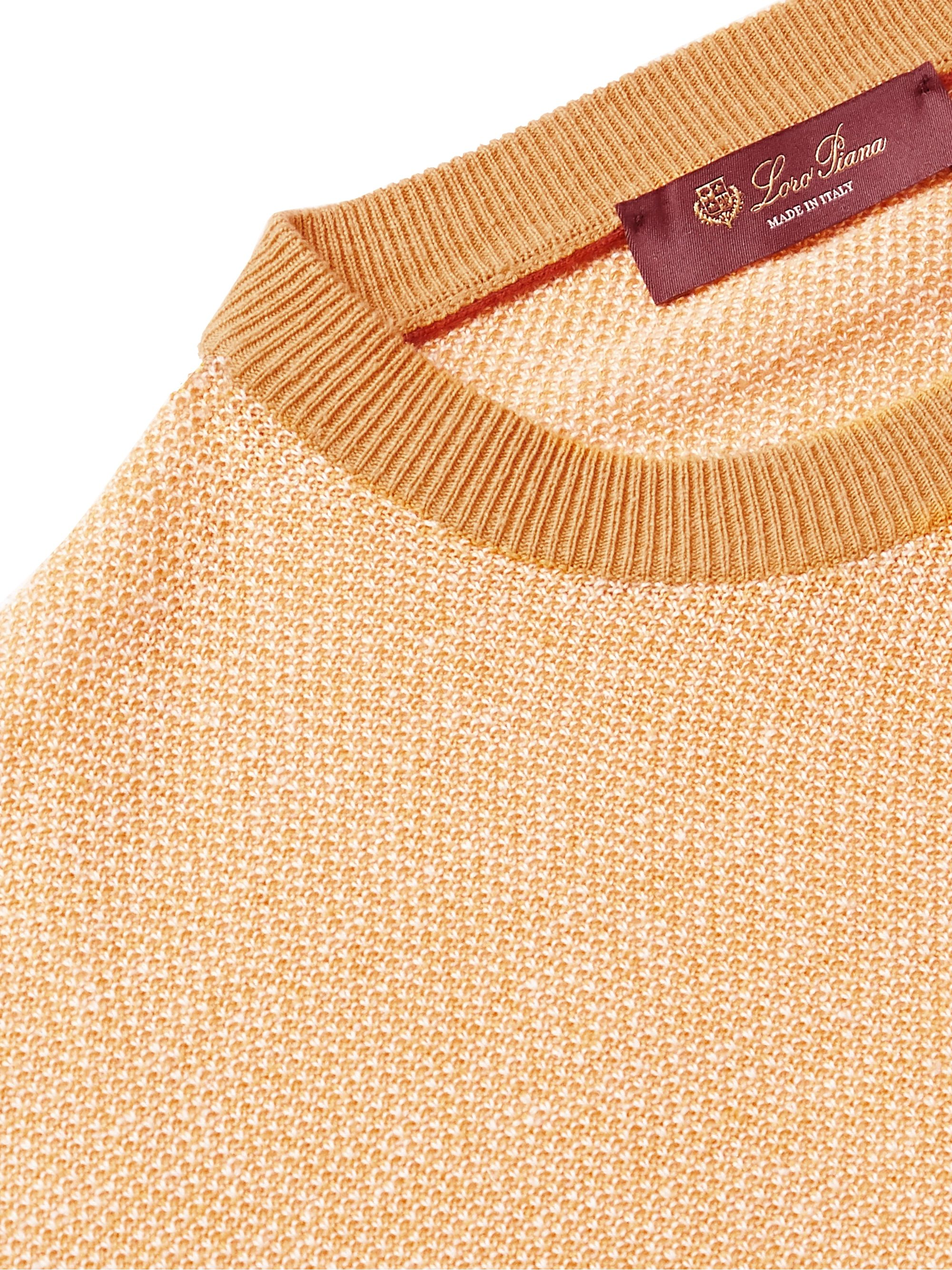 Yellow Slim-fit Silk And Linen-blend Sweater | Loro Piana