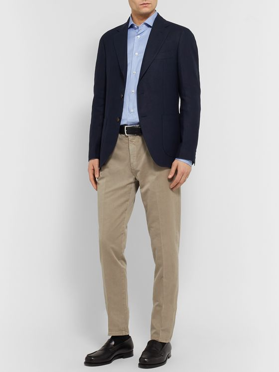 LORO PIANA Navy Slim-Fit Unstructured Linen Blazer