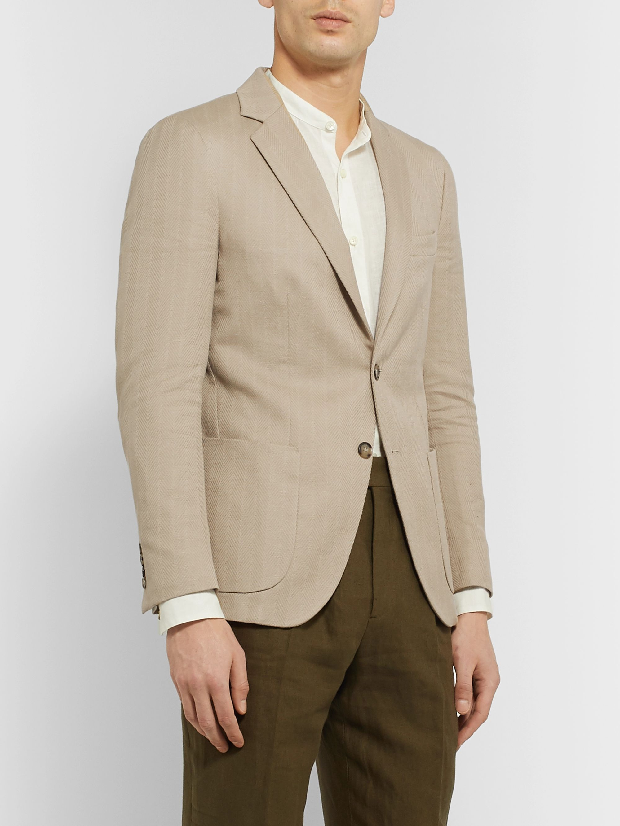 Loro Piana Rain System Cotton and Linen-Blend Blazer