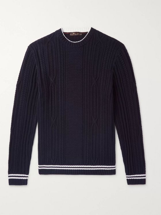 LORO PIANA Slim-Fit Striped Cable-Knit Cotton and Cashmere-Blend Sweater