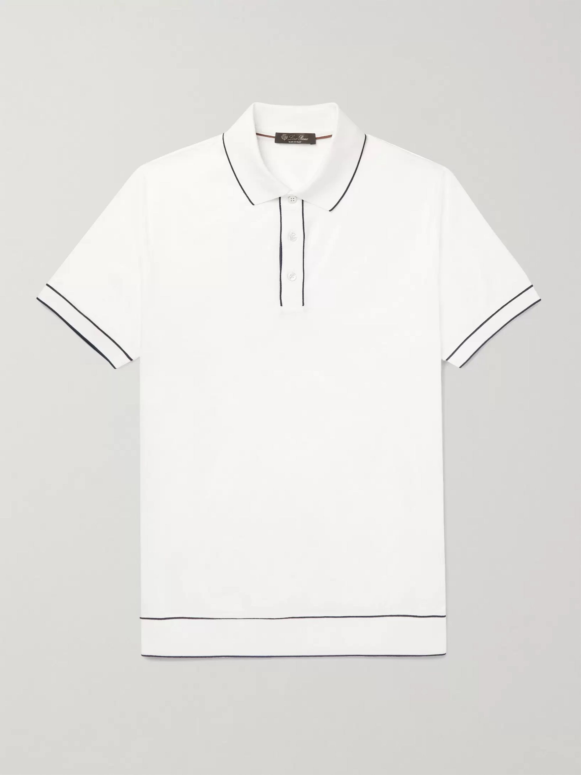 Loro Piana Slim-Fit Contrast-Tipped Cotton-Jersey Polo Shirt