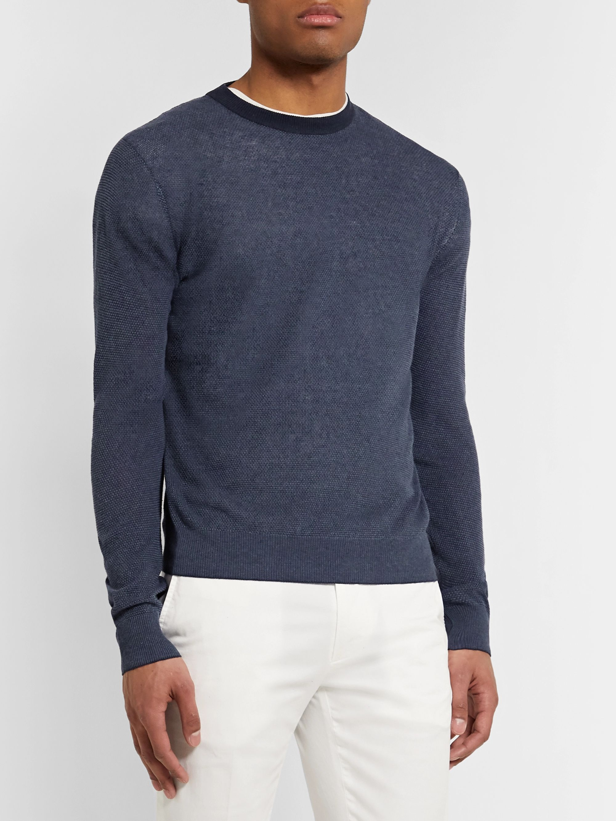 Loro Piana Slim-Fit Silk and Linen-Blend Sweater