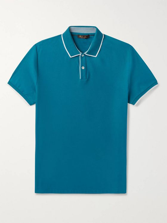 LORO PIANA Slim-Fit Contrast-Tipped Stretch-Cotton Piqué Polo Shirt