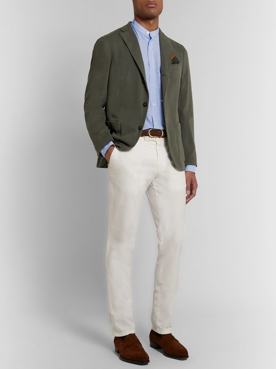 LORO PIANA Grandad-Collar Slub Cotton Shirt