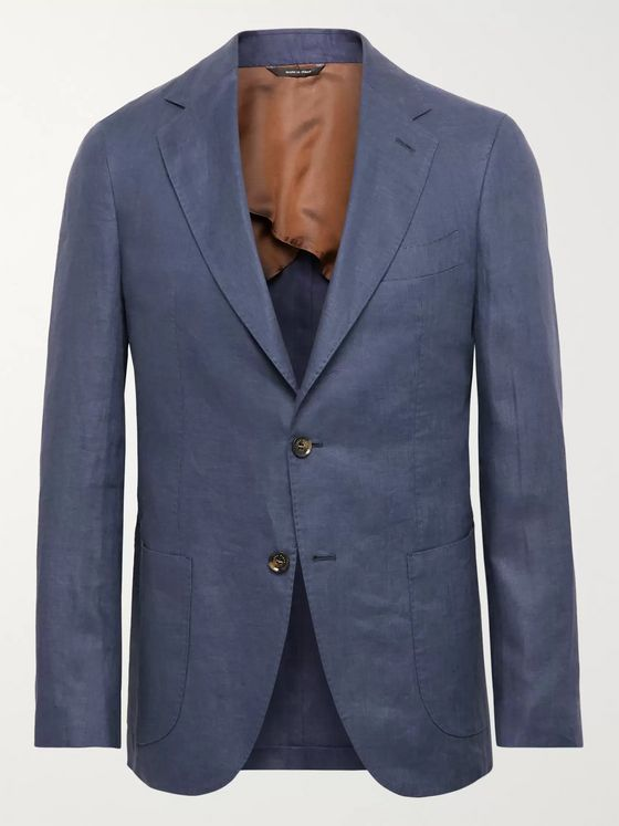 LORO PIANA Blue Unstructured Linen Blazer