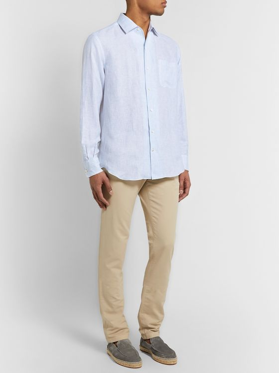 LORO PIANA Striped Slub Linen Shirt