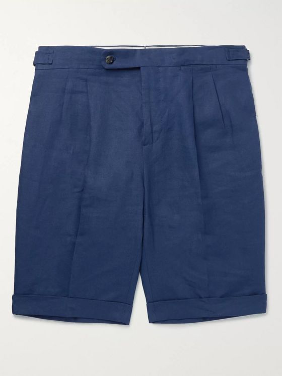 LORO PIANA Slim-Fit Pleated Linen Shorts