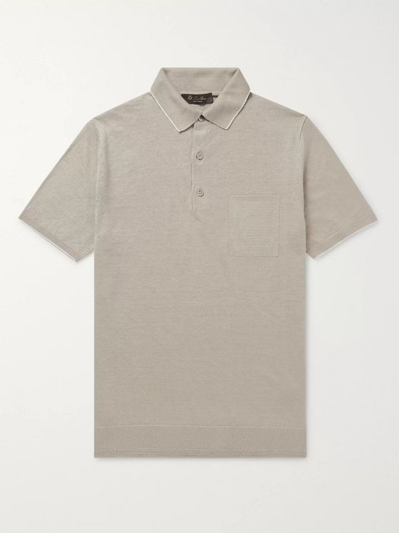 Loro Piana Slim-Fit Contrast-Tipped Linen-Jersey Polo Shirt