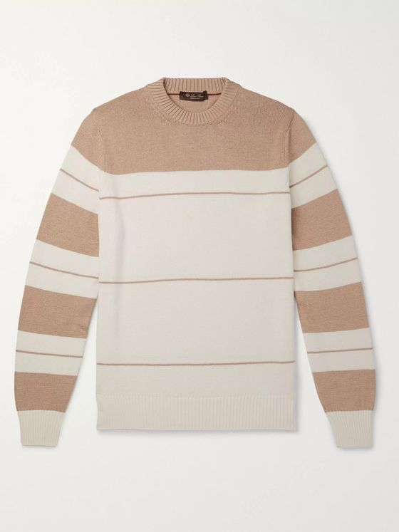 Loro Piana Striped Cotton and Silk-Blend Sweater