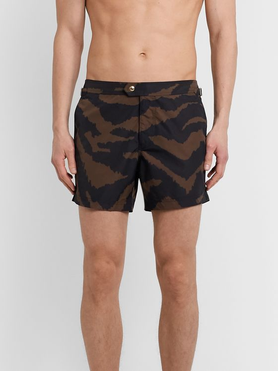 TOM FORD Slim-Fit Short-Length Zebra-Print Swim Shorts