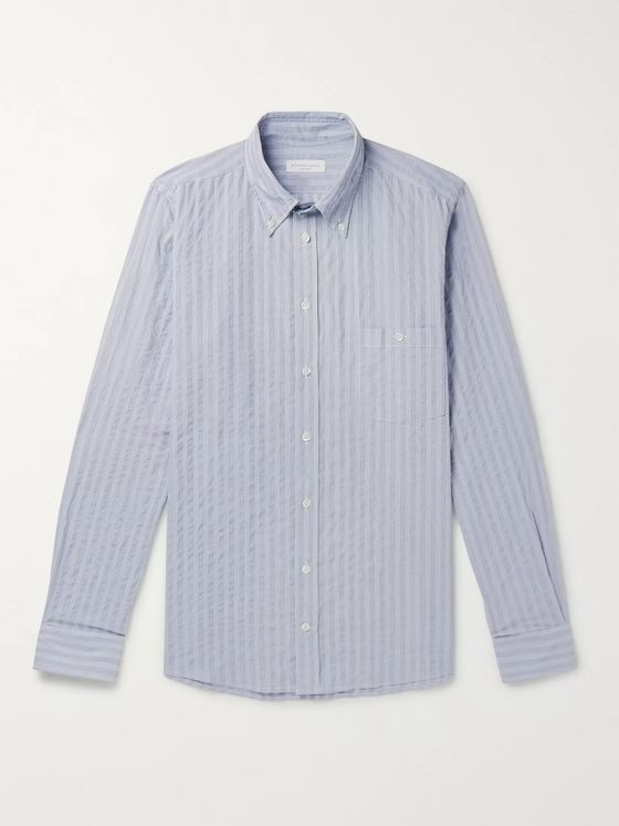 Richard James Button-Down Collar Striped Cotton Shirt