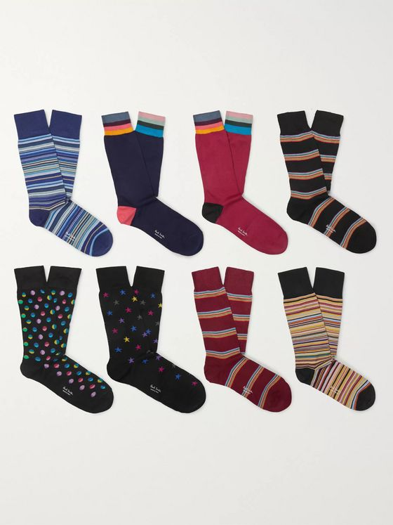 Paul Smith Eight-Pack Cotton-Blend Jacquard Socks