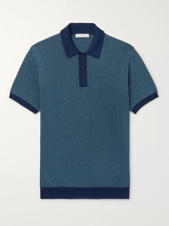 Mr P. Slim-Fit Textured-Knit Cotton-Piqué Polo Shirt