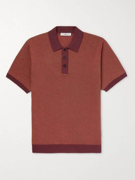 Mr P. Textured-Knit Cotton-Piqué Polo Shirt