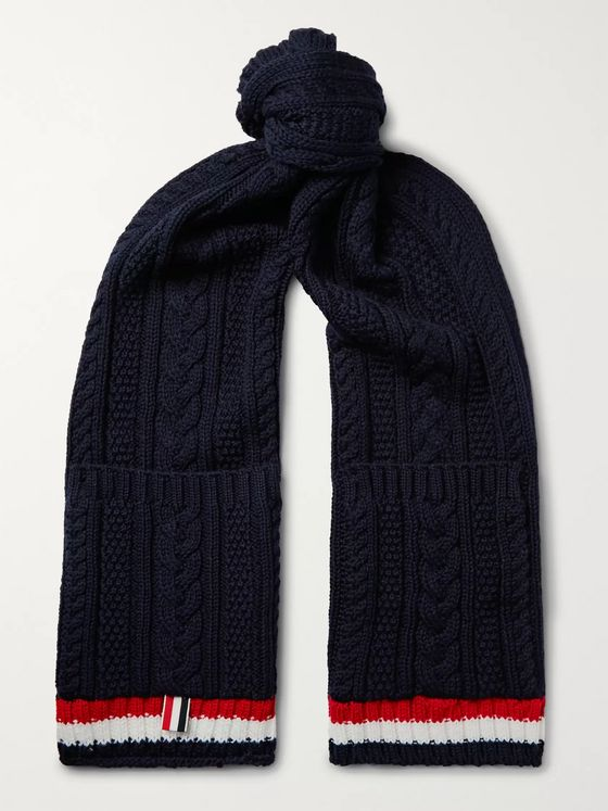 Thom Browne Striped Cable-Knit Merino Wool Scarf