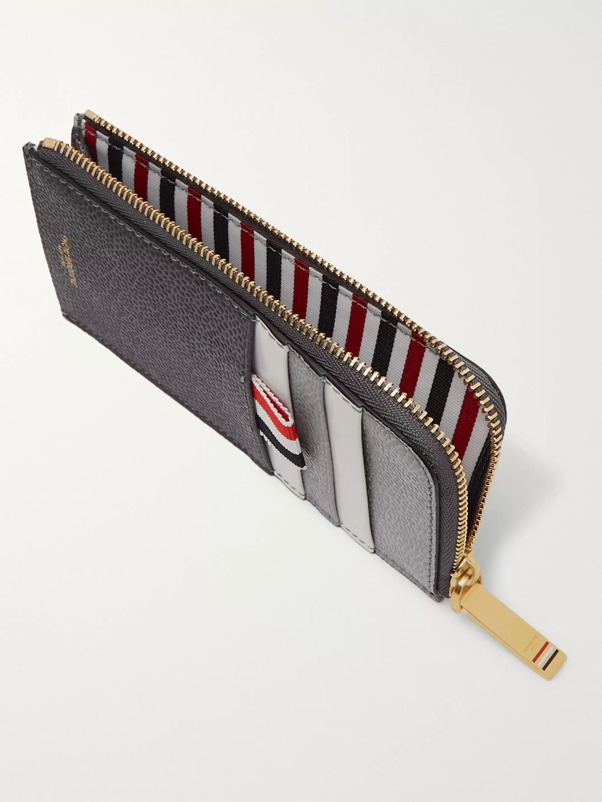 Thom Browne Striped Grosgrain-Trimmed Two-Tone Pebble-Grain Leather Zip-Around Wallet
