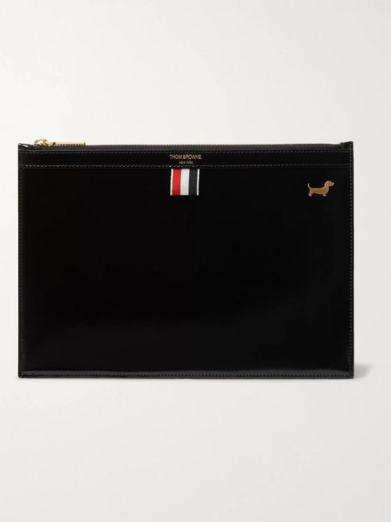 Thom Browne Patent-Leather Pouch