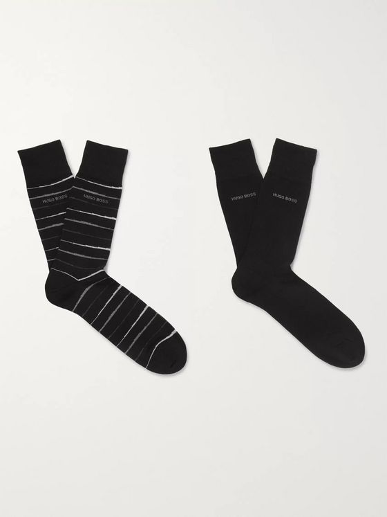 Hugo Boss Two-Pack Striped Stretch Combed Cotton-Blend Socks