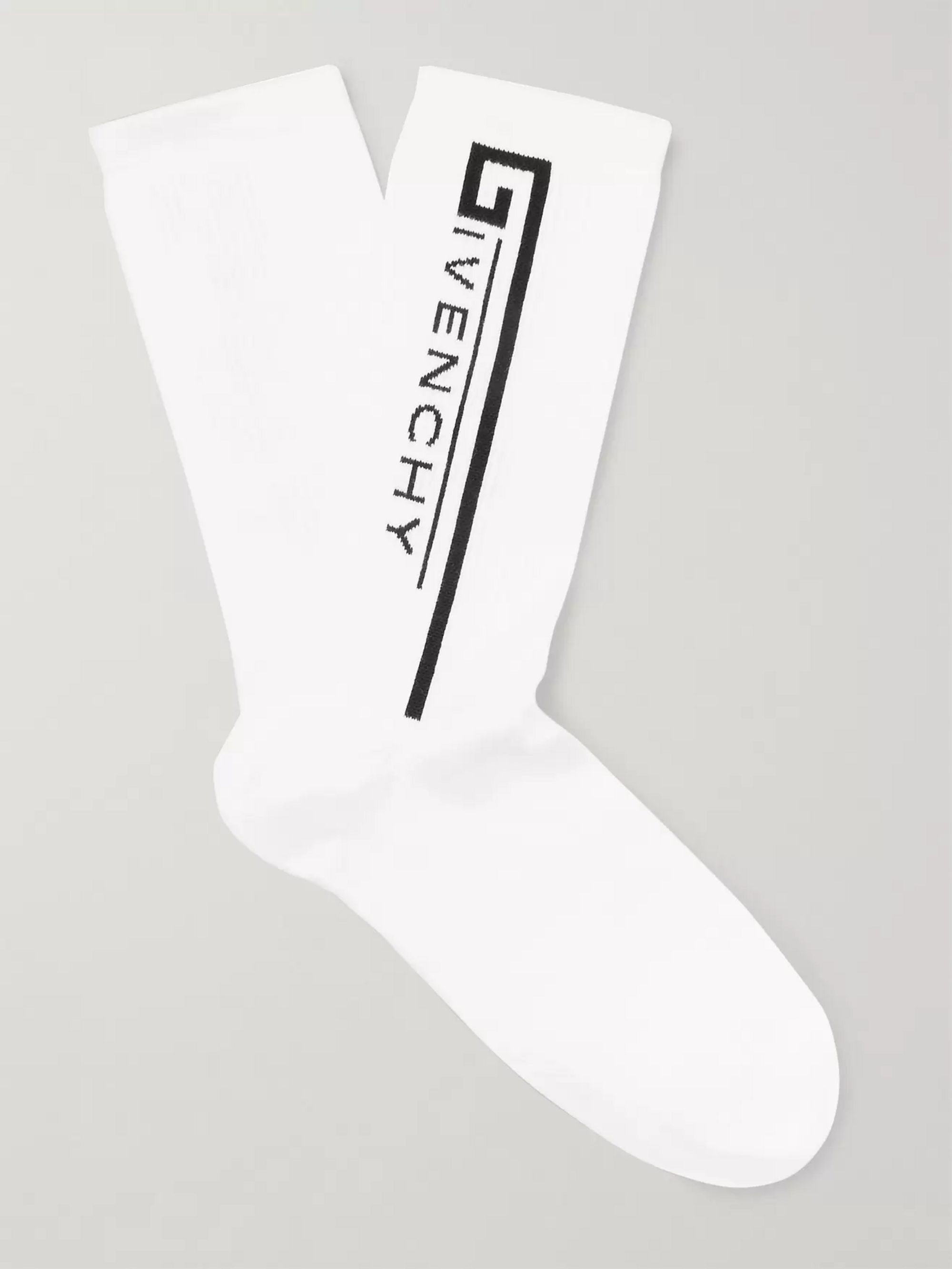 Givenchy Logo-Intarsia Stretch Cotton-Blend Socks
