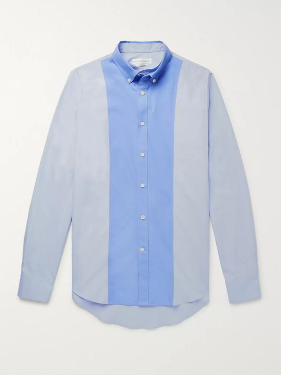 Alexander McQueen Slim-Fit Layered Two-Tone Cotton-Poplin Shirt