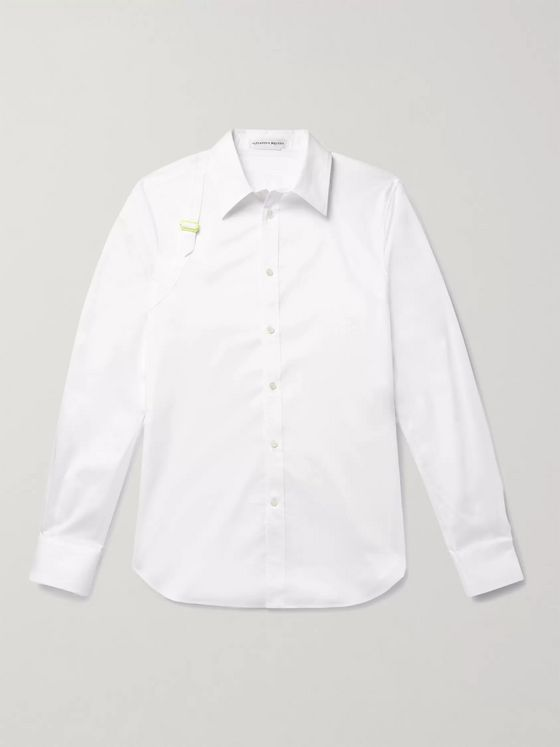 ALEXANDER MCQUEEN Slim-Fit Harness-Detailed Piqué-Panelled Cotton-Poplin Shirt