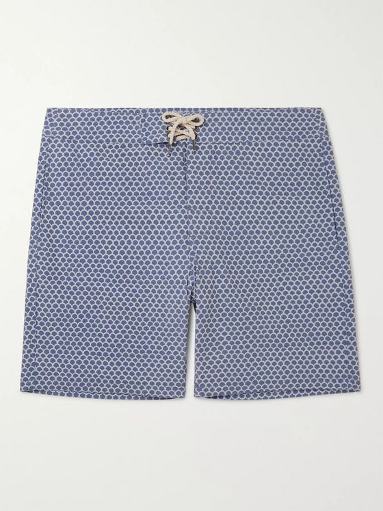 Faherty Slim-Fit Long-Length Printed Swim Shorts