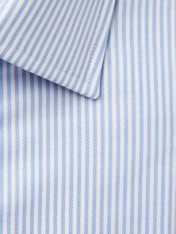 Emma Willis Blue Slim-Fit Striped Cotton Oxford Shirt