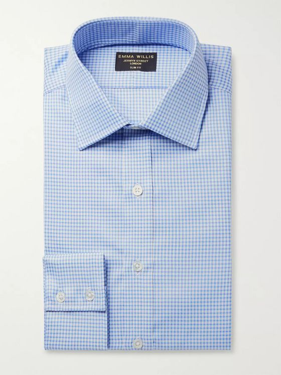Emma Willis Blue Slim-Fit Gingham Cotton Oxford Shirt