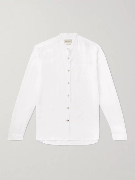Oliver Spencer Grandad-Collar Linen Shirt