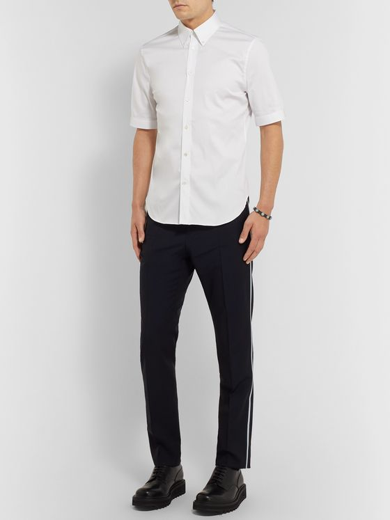 Alexander McQueen Brad Slim-Fit Button-Down Collar Stretch Cotton-Blend Poplin Shirt