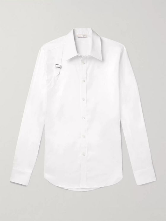 Alexander McQueen Slim-Fit Harness-Detailed Piqué-Panelled Cotton-Blend Poplin Shirt