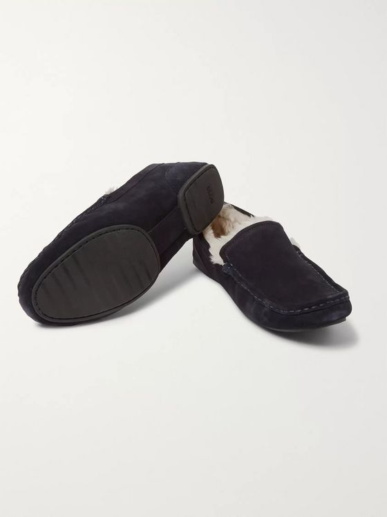 Hugo Boss Faux Shearling-Lined Suede Slippers