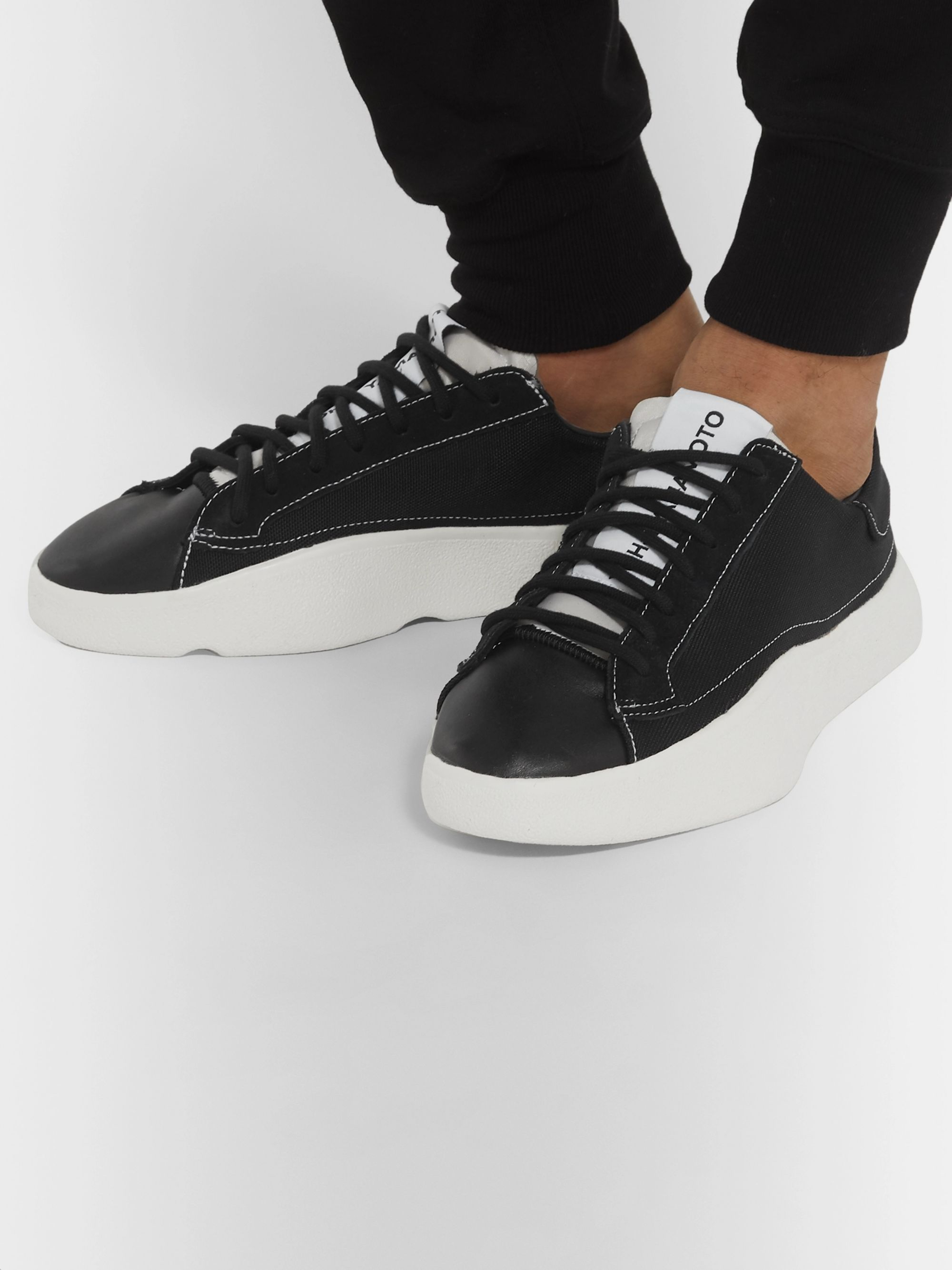 Y-3 Tangutsu Canvas, Suede and Leather Sneakers