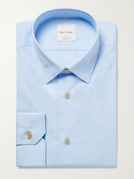 PAUL SMITH Light-Blue Slim-Fit Cotton-Poplin Shirt