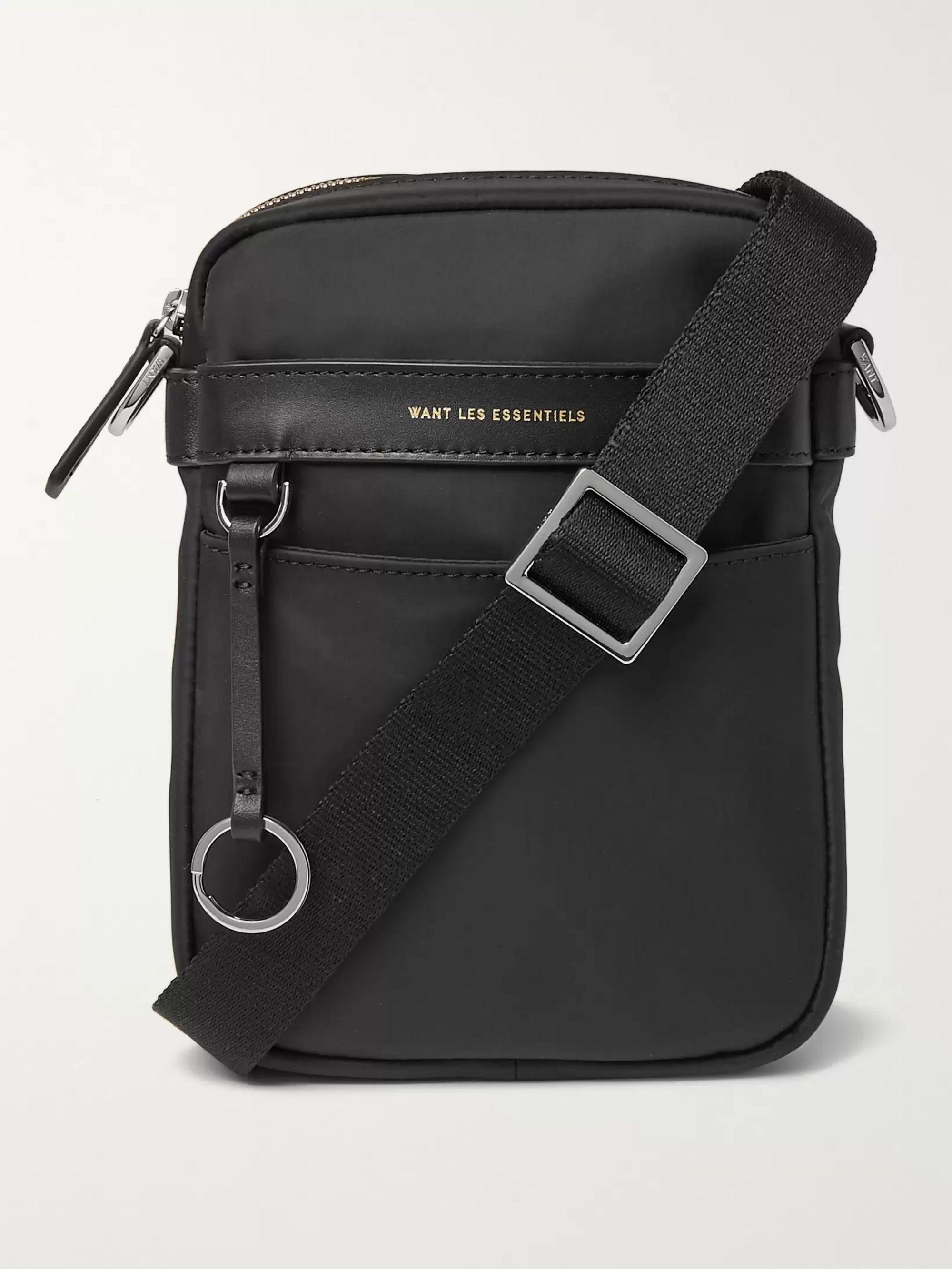 WANT LES ESSENTIELS Reagan Leather-Trimmed Nylon Messenger Bag,Black